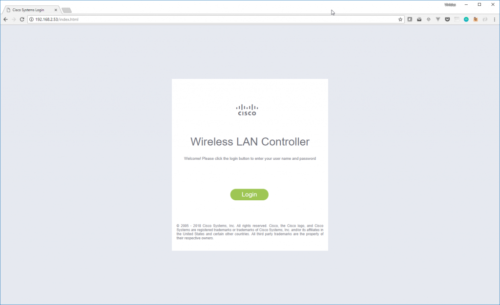 Tela de Login Cisco